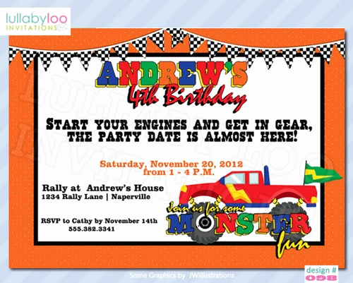Monster Truck Invitation Templates Free Luxury Monster Truck Birthday Invitations Ideas – Free Printable