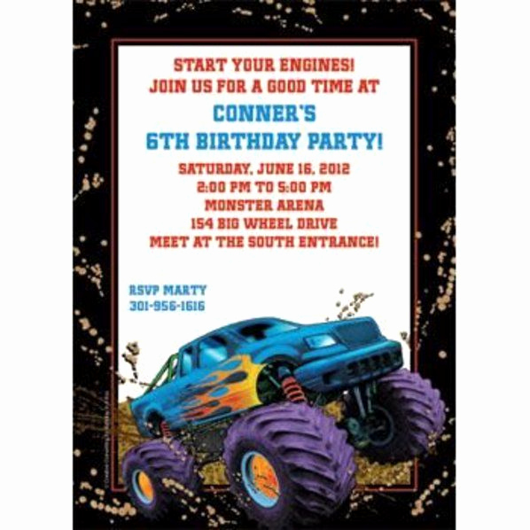 Monster Truck Invitation Templates Free Luxury Monster Truck Birthday Invitations