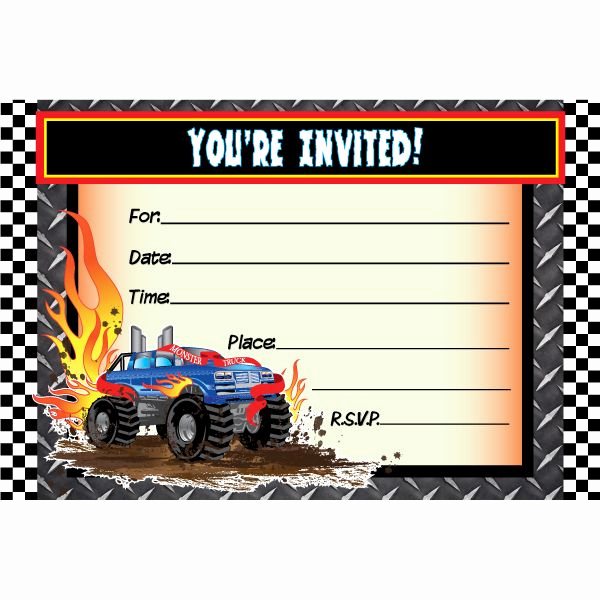 Monster Truck Invitation Templates Free New Awesome Monster Truck Birthday Invitations Ideas