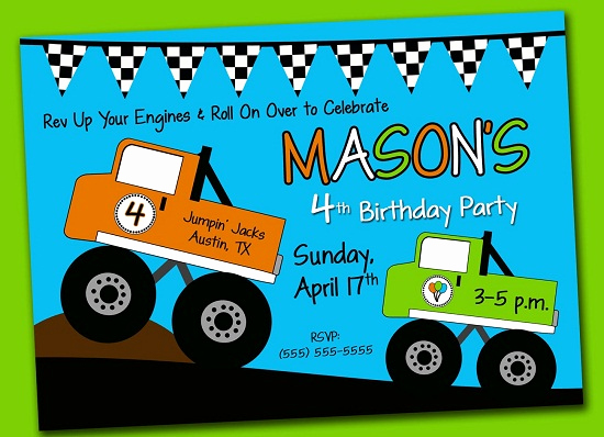 Monster Truck Invitation Templates Free New Monster Truck Birthday Invitations Ideas – Bagvania Free