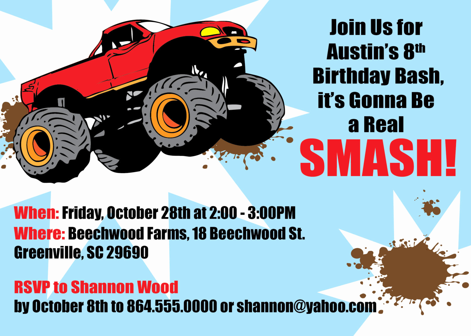 Monster Truck Invitation Templates Free New Monster Truck Invitation Boy Child S Birthday Party