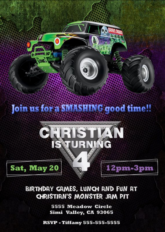 Monster Truck Invitation Templates Free Unique Pin by Birthday Invitations On Printedfun In 2019