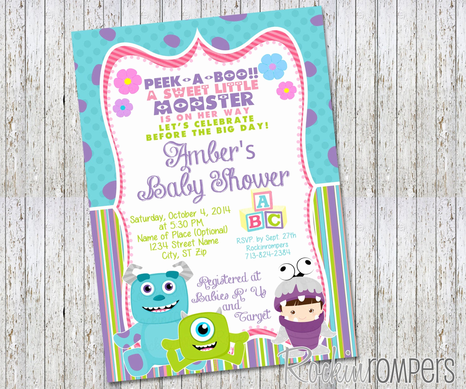 Monsters Inc Baby Shower Invitation Awesome Girl Monsters Inc Inspired Baby Shower Invitation