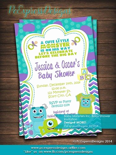 Monsters Inc Baby Shower Invitation Awesome Monsters Inc Baby Shower Invitation
