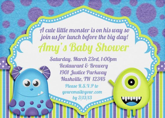 Monsters Inc Baby Shower Invitation Awesome Monsters Inc Baby Shower Invitations