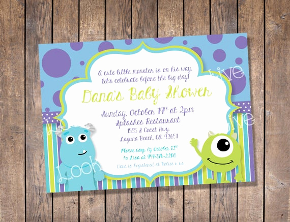 Monsters Inc Baby Shower Invitation Beautiful Monsters Inc Baby Shower Invitation Custom Digital Print