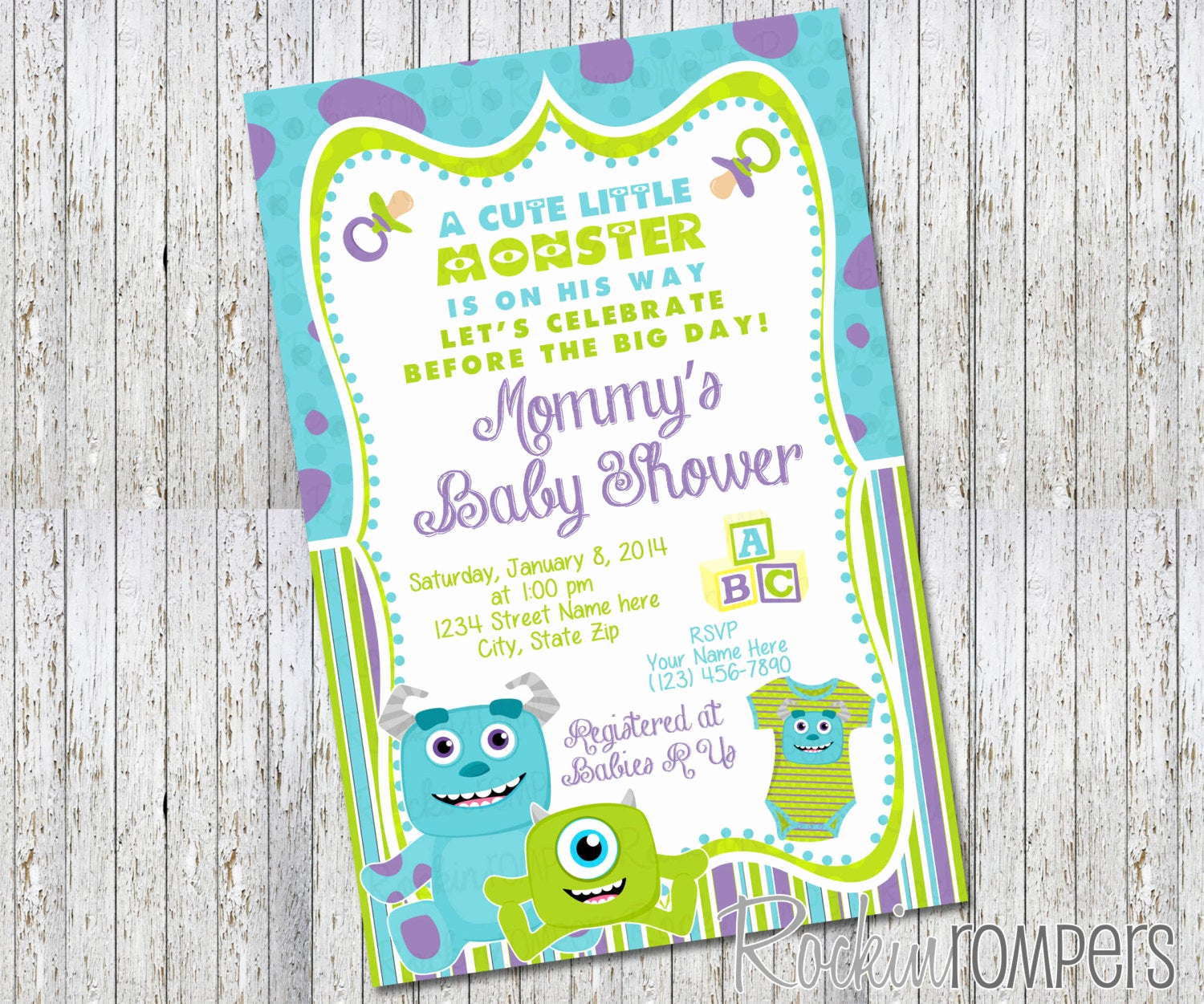 Monsters Inc Baby Shower Invitation Beautiful Monsters Inc Inspired Baby Shower Invitation by Rockinrompers