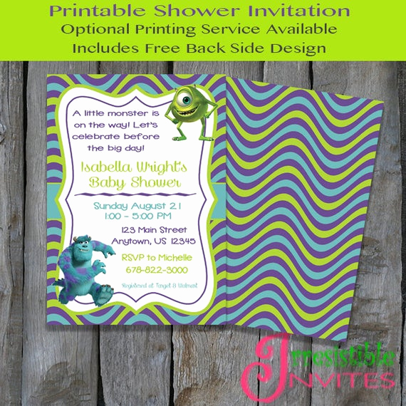 Monsters Inc Baby Shower Invitation Beautiful Monsters Inc Printable Baby Shower Invitation Monsters