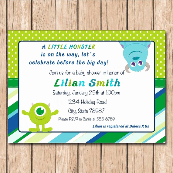 Monsters Inc Baby Shower Invitation Best Of Mini Monsters Inc Baby Shower Invitation 1 00 Each Printed