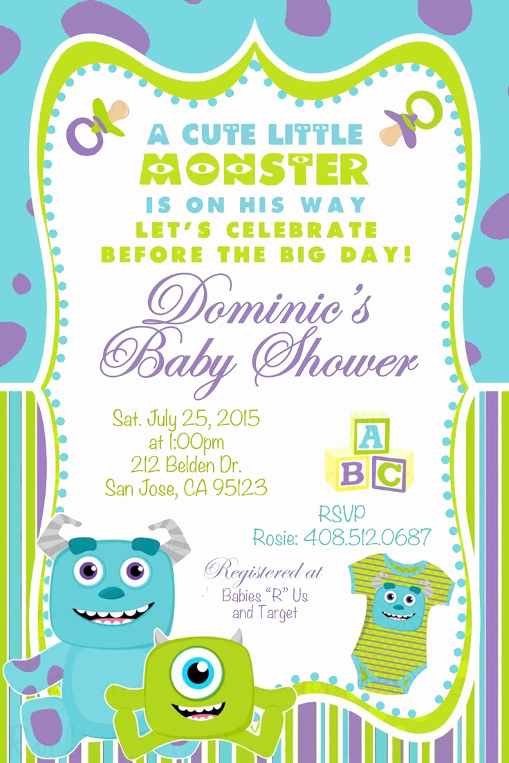 Monsters Inc Baby Shower Invitation Fresh 25 Best Ideas About Monsters Inc Invitations On Pinterest