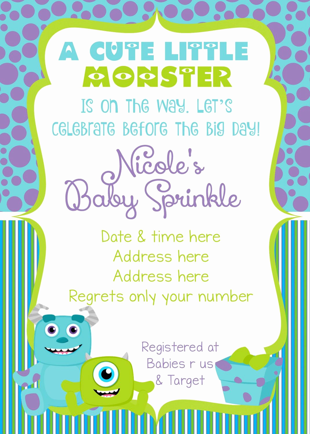 Monsters Inc Baby Shower Invitation Inspirational Monsters Inc Baby Shower Invitation Monsters Inc Baby