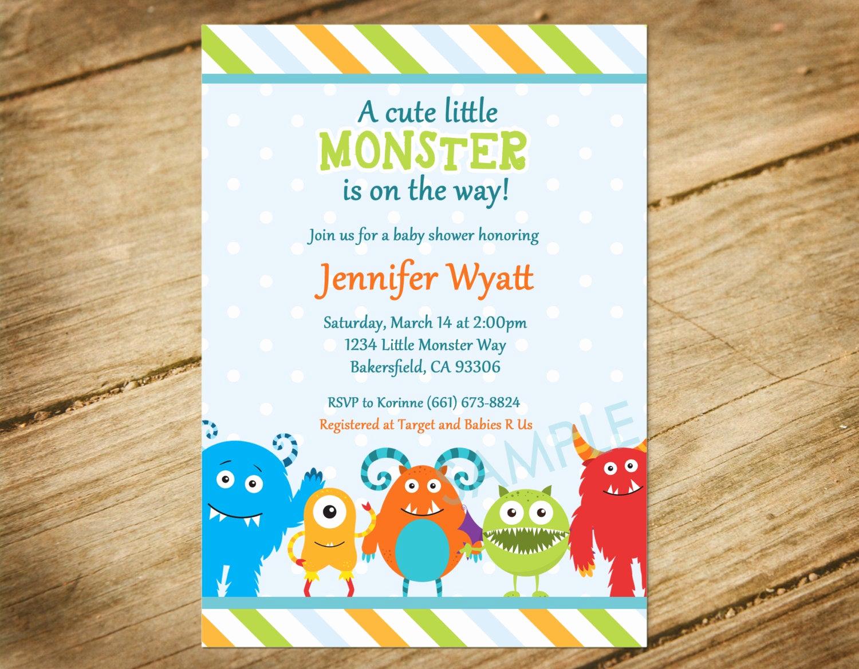 Monsters Inc Baby Shower Invitation Lovely Little Monster Baby Shower Invitation Monster theme