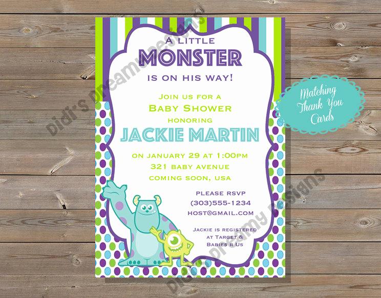 Monsters Inc Baby Shower Invitation Lovely Monsters Inc Baby Shower Invitation Thank You Card Diaper