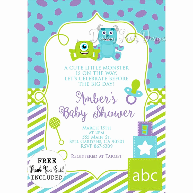 Monsters Inc Baby Shower Invitation Lovely Monsters Inc Baby Shower Invitations