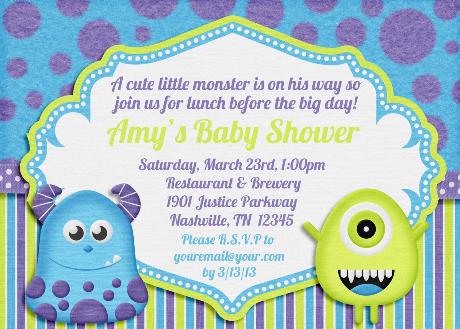 Monsters Inc Baby Shower Invitation Luxury Little Monster Baby Shower Invitation by Amandacreation On