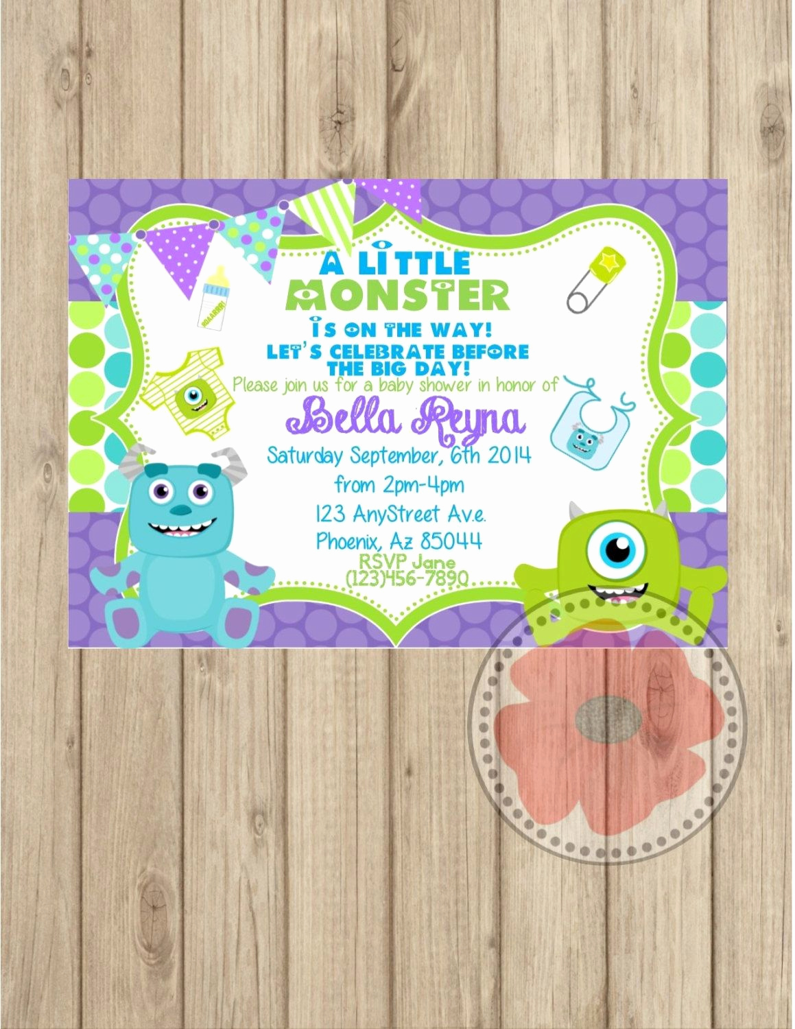 Monsters Inc Baby Shower Invitation Luxury Monsters Inc Baby Shower Invitation Diy by