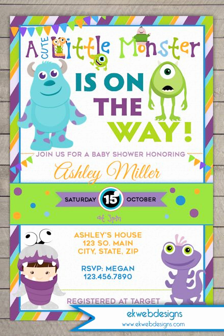 Monsters Inc Baby Shower Invitation Luxury Monsters Inc Baby Shower Invitation Monsters University