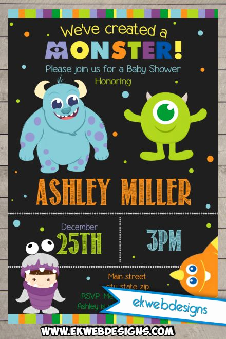 Monsters Inc Baby Shower Invitation Luxury Printable Custom Monster Inc Baby Shower Invitations