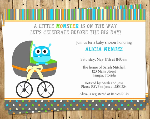 Monsters Inc Baby Shower Invitation New Monster Baby Shower Invitations Boy Stripes by