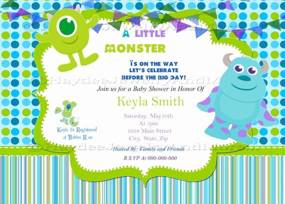 Monsters Inc Baby Shower Invitation New Monster Inc Baby Shower Invitation