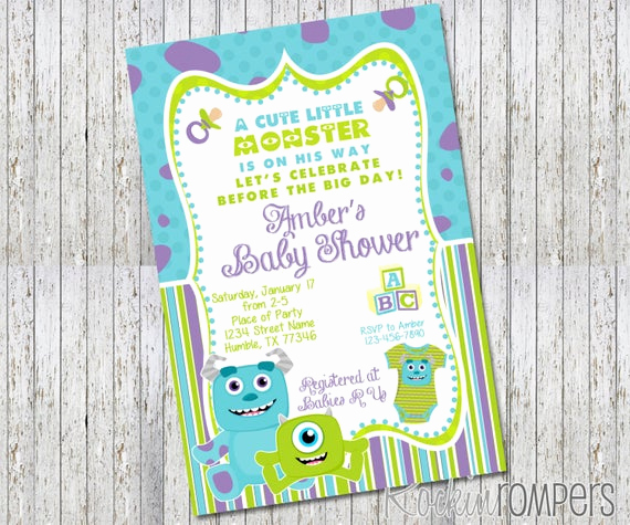 Monsters Inc Baby Shower Invitation New Monsters Inc Inspired Baby Shower Invitation by Rockinrompers