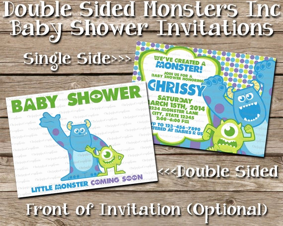 Monsters Inc Baby Shower Invitation Unique Instant Download Double Sided Monsters Inc by