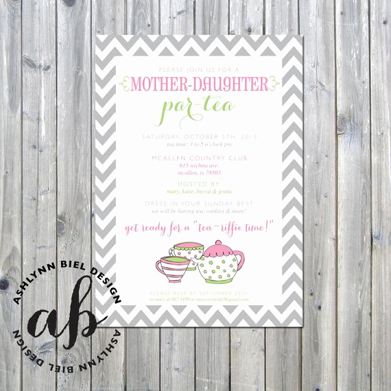Mother Daughter Tea Invitation Awesome Items Similar to Printable Mother Daughter Par Tea