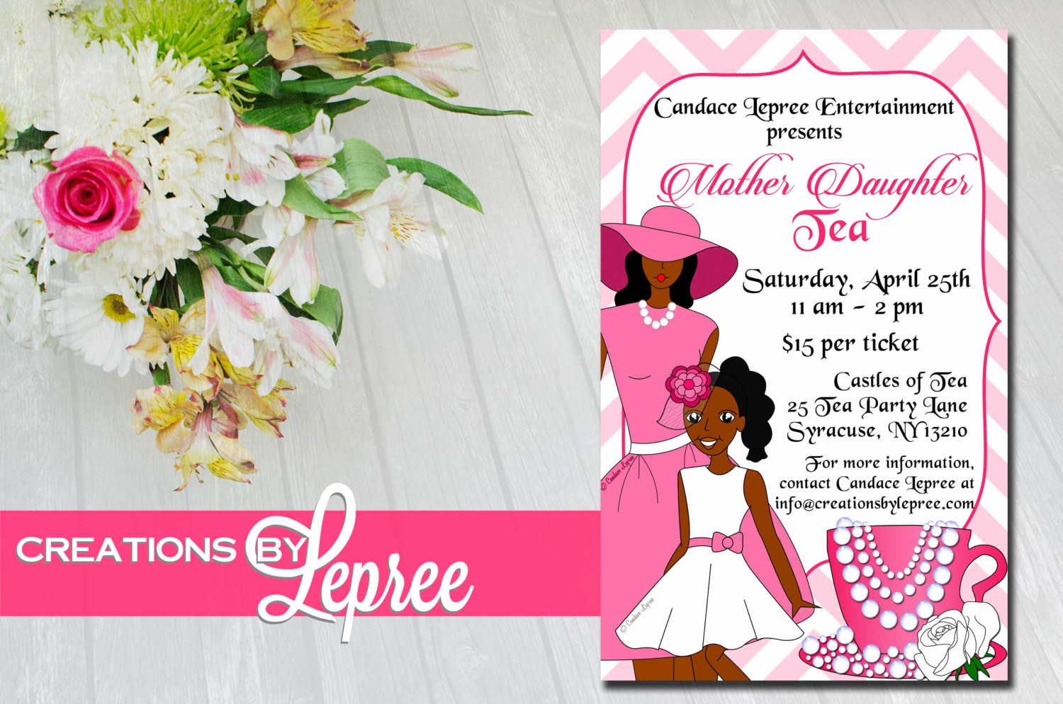 Mother Daughter Tea Invitation Awesome Pink Chevron Illustrated Mother Daughter Tea Invitation with