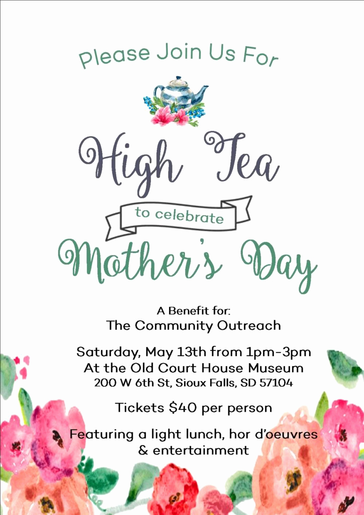 Mother Daughter Tea Invitation Elegant Join Us for A Mother S Day Charitea the Munity