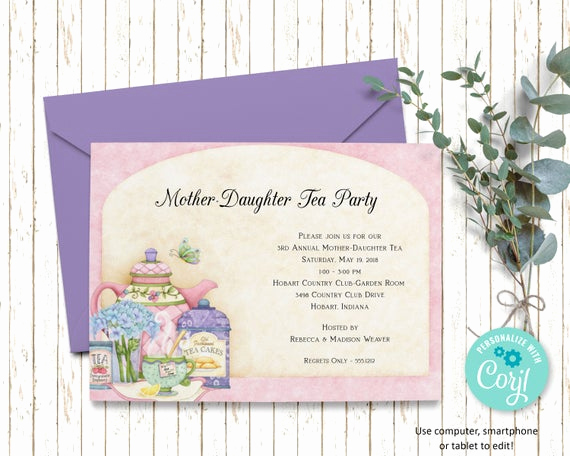 Mother Daughter Tea Invitation Unique Mother Daughter Tea Invitation Bridal Shower Printable