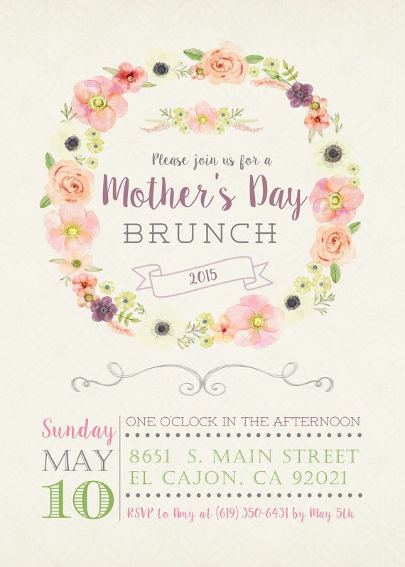 Mother Day Brunch Invitation Elegant 5x7 Floral Mother S Day Brunch Invitation