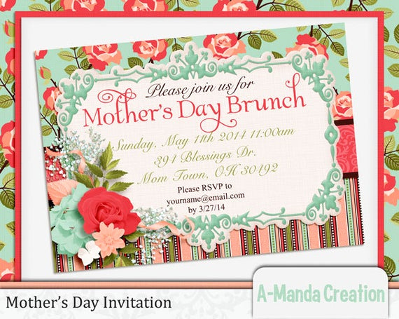 Mother Day Brunch Invitation Elegant Items Similar to Mother S Day Brunch Printable Invitation