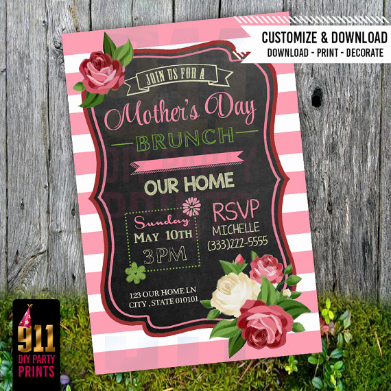 Mother Day Brunch Invitation Elegant Mother S Day Brunch Party Invitation Pink