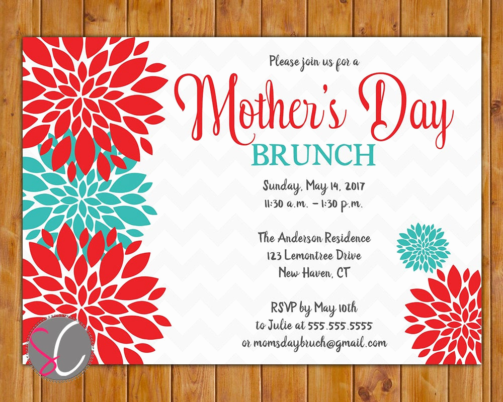 Mother Day Brunch Invitation Fresh Mother S Day Brunch Invite Celebration Luncheon Invitation