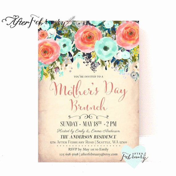 Mother Day Brunch Invitation Lovely Coral Mint Mother S Day Brunch Invitation Mother S Day