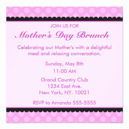 pink polka dot mothers day brunch invitation