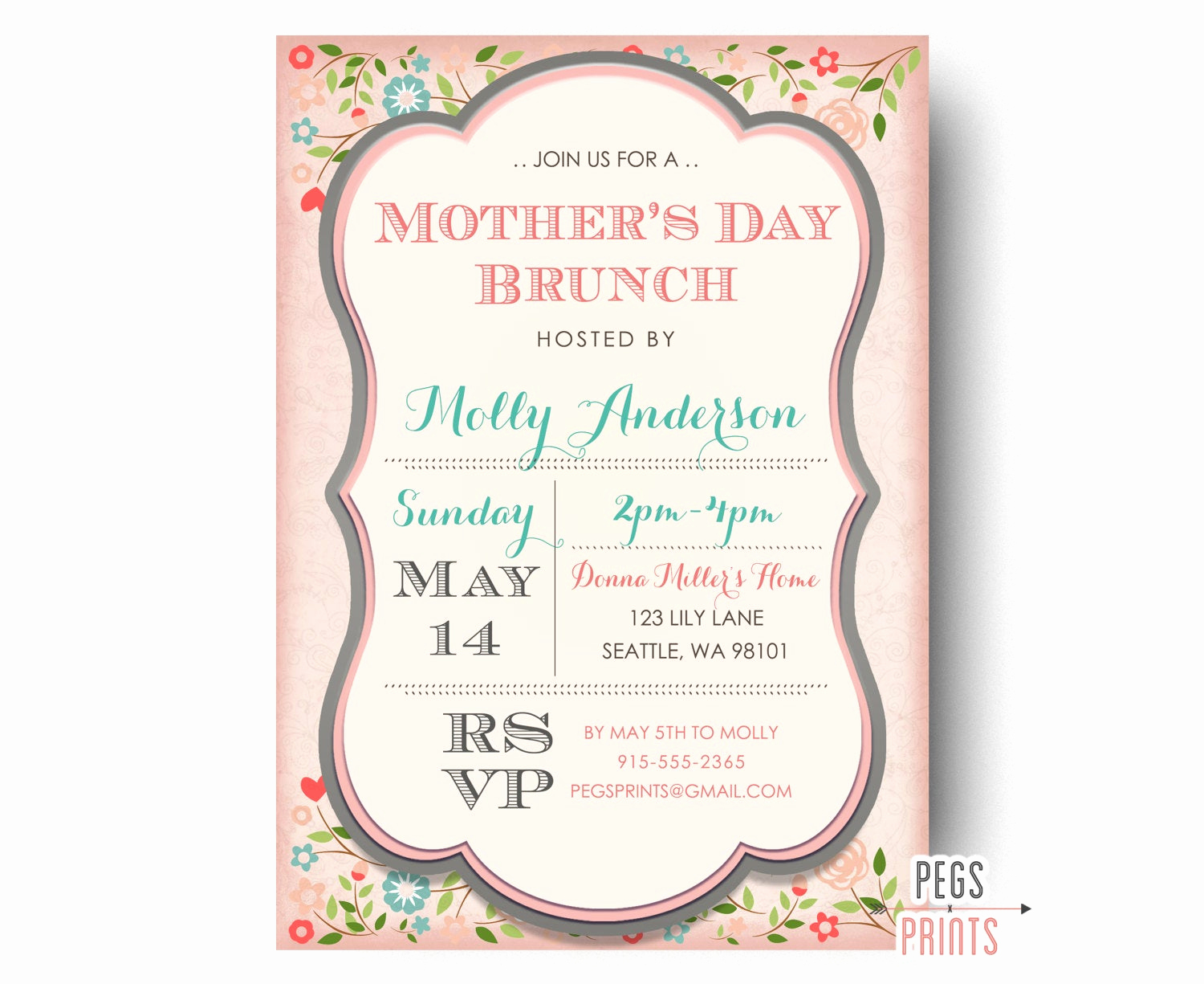 Mother Day Brunch Invitation Unique Mothers Day Brunch Invitation Printable Mothers Day