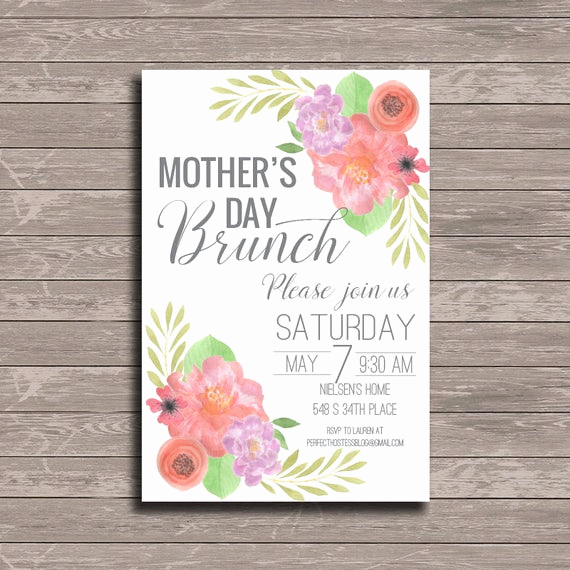 Mother Day Brunch Invitation Unique Watercolor Floral Mother S Day Brunch Invitation