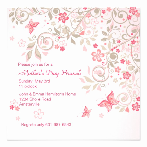 "Mother Day Invitation Wording Elegant butterfly Meadow Mother S Day Invitation 5 25"" Square"