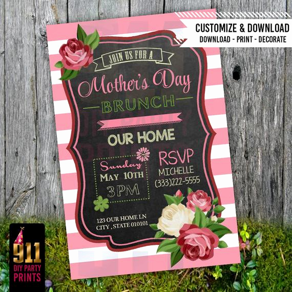 Mother Day Invitation Wording Inspirational Mother S Day Brunch Party Invitation Pink