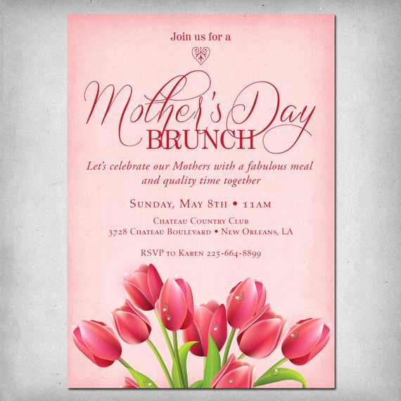 Mother Day Invitation Wording Lovely Items Similar to Printable Mother S Day Brunch Invitation