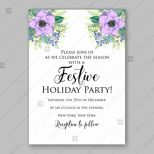 Mother Day Invitation Wording Luxury Christmas Party Invitation with Wording and Violet Flowers