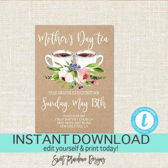 Mother Day Invitation Wording Luxury Mother S Day Tea Invitation Editable Church Tea Invite