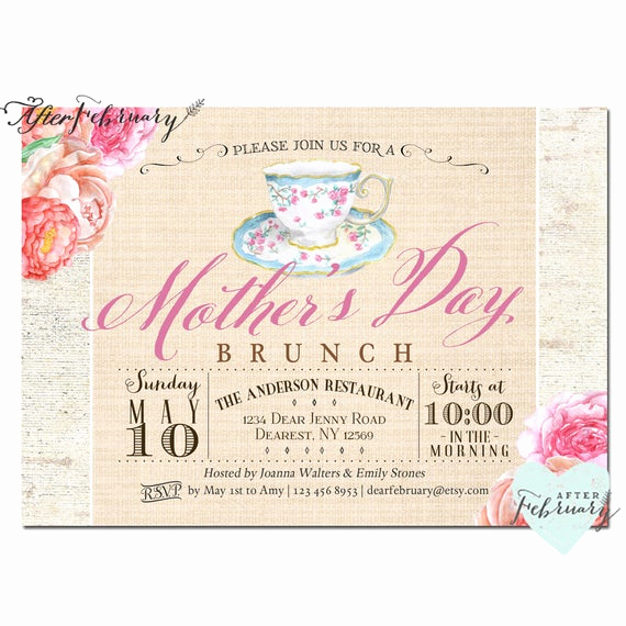 Mother Day Tea Invitation Awesome Mother S Day Invitation Mother S Day Brunch