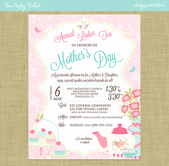 Mother Day Tea Invitation Awesome Tea Party social event Ticket Template Church School