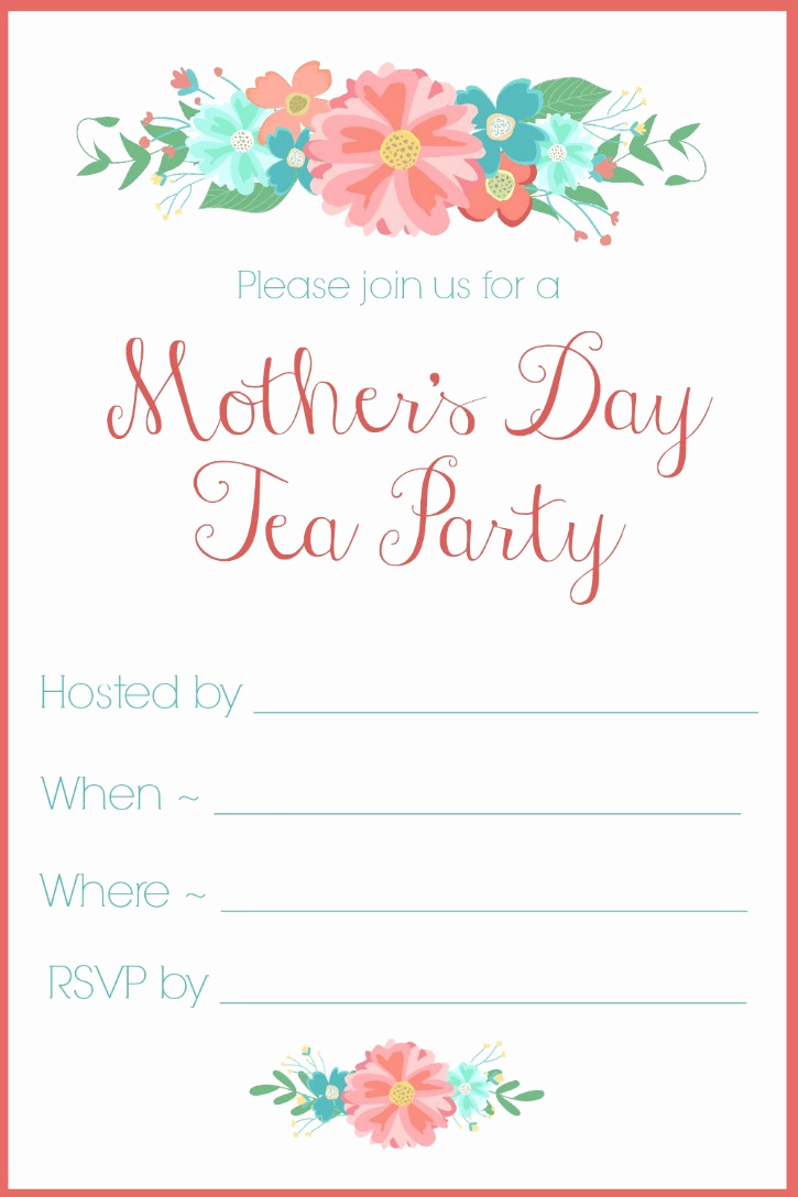 Mother Day Tea Invitation Elegant Mother S Day Tea Party Invitation Free Printables