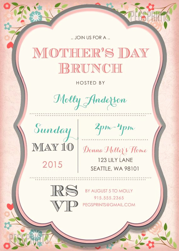 Mother Day Tea Invitation Elegant Mothers Day Brunch Invitation Printable Mothers by