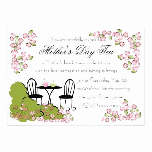 Mother Day Tea Invitation Elegant Tea In the Garden 5x7 Paper Invitation Card