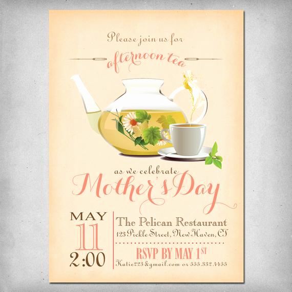 Mother Day Tea Invitation Inspirational Printable Mother S Day Tea Party Invitation by