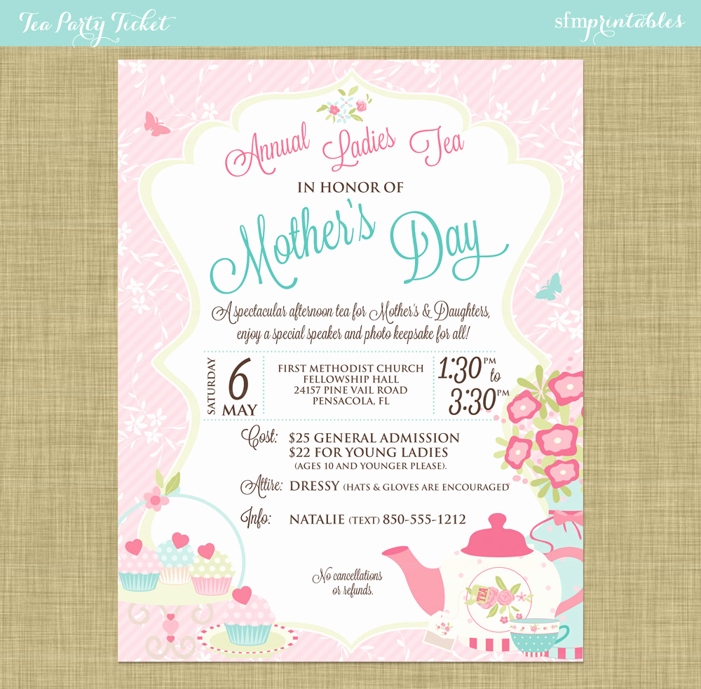 Mothers Day Tea Invitation Best Of Mother S Day Tea social Flyer Invitation Postcard Poster